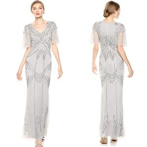 NWT Adrianna Papell Silver Beaded Gown